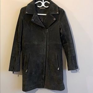 Suede leather coat, NWOT